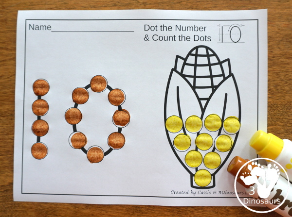 Turkey, Corn and Pie Themed Dot Marker Number & Counting - this is a fun counting activity with dot markers that works on numbers 0 to 20 with color or black and white options - 3Dinosaurs.com #thanskgivingactivities #dotmaker #doadot #numbers #counting