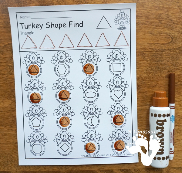 Turkey Themed Shape Find: shape and shape word with tracing $ - 12 shapes in all for kids to learn with - 3Dinosaurs.com