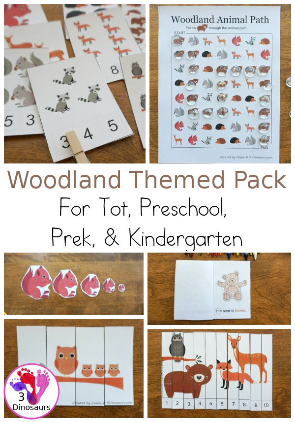 Free Woodland Pack Tot, Preschool, PreK & Kindergarten - a mix of hands-on activities and no-prep printables to explore animals from the woodlands or forest. These are fun activities to use with a mix of ages - 3Dinosaurs.com