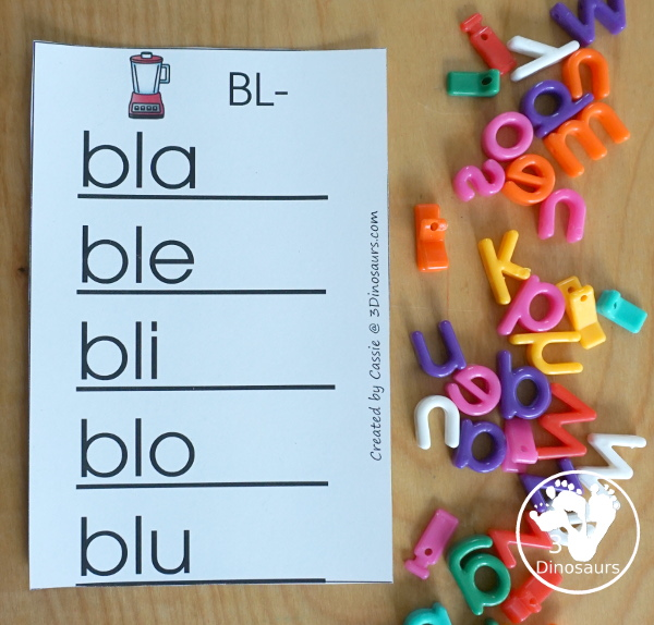 Free Blend Word Ladders: Beginning Sounds consonant blends: bl, br, cl, cr, dr, fl, fr, gl, gr, pl, pr, sc, sk, sl, sm, sn, sp, st, sw, & tr - 3Dinosaurs.com