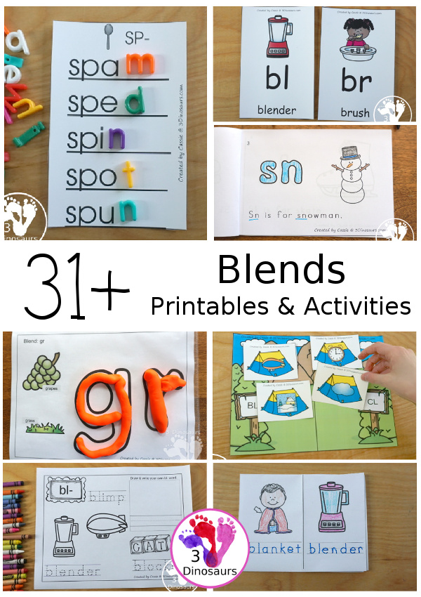 Blends Printables on 3 Dinosaurs