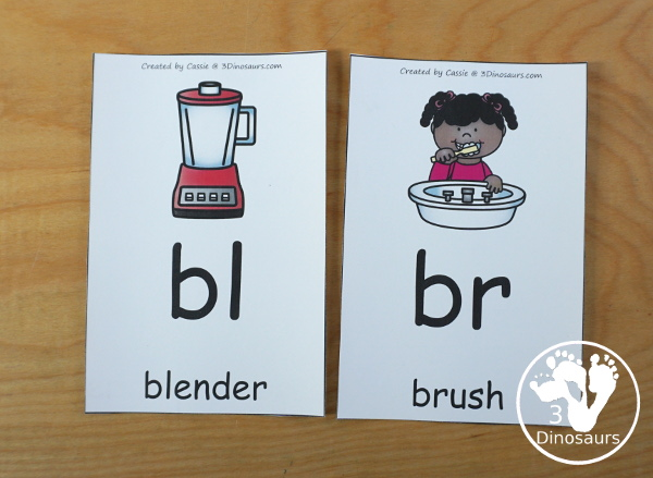 Free Blends Wall Cards: Beginning Sound Consonant Blends - with the blend, picture and matching word for the following blends bl, br, cl, cr, dr, fl, fr, gl, gr, pl, pr, sc, sk, sl, sm, sn, sp, st, sw, & tr - 3Dinosaurs.com