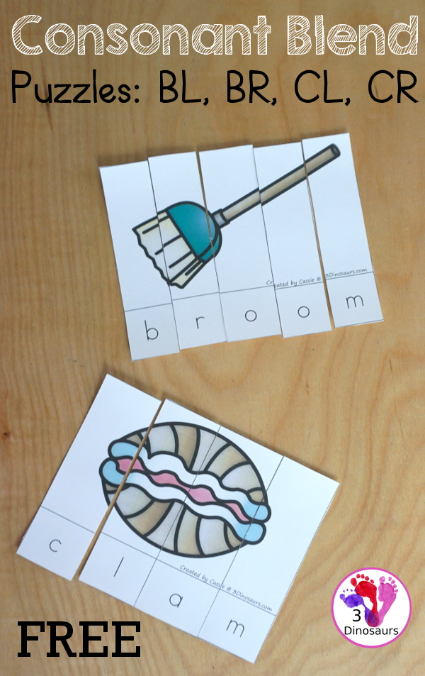Free Blends Puzzles: consonant blends puzzles for kids to learn Bl-, Br-, Cl-, and Cr- blends. Two puzzles for each beginning blend - 3Dinosaurs.com