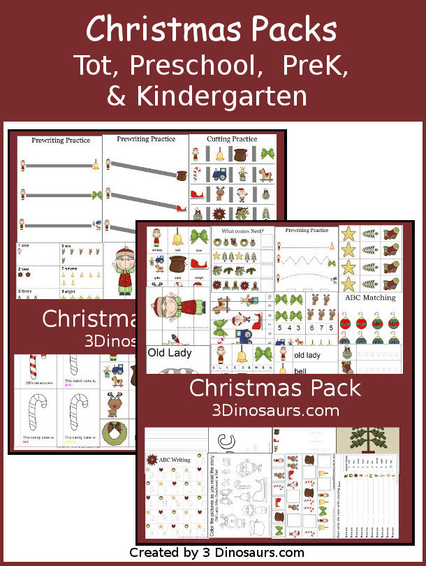 Free Christmas Pack - Tot, Preschool, Prek, & Kindergarten - two fun packs with loads of activities around Christmas themes and can be used with the Book There was an Old Lady Who Swallowed a Bell - 3Dinosaurs.com