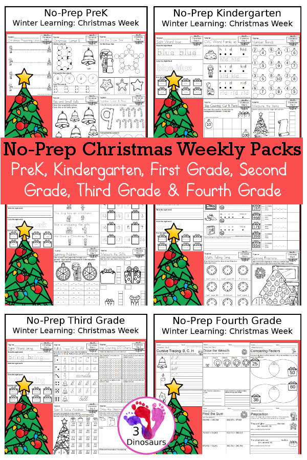 No-Prep Christmas Themed Weekly Packs for PreK, Kindergarten, First Grade, Second Grade, Third Grade & Fourth Grade with 5 days of activities to do for each grade level - These are great for activities to do this winter with a Christmas themed items to have fun while learning - 3Dinosaurs.com