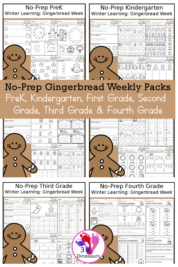 No-Prep Gingerbread Themed Weekly Packs for PreK, Kindergarten, First Grade, Second Grade, Third Grade & Fourth Grade with 5 days of activities to do for each grade level - These are great for activities to do this winter with a gingerbread house and gingerbread men to have fun while learning - 3Dinosaurs.com