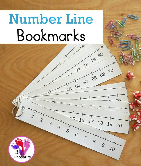 Free Printable Number Line Bookmarks - with number lines from 1 to 100 with two options for printing. You have black and white and an even and odd versions - 3Dinosaurs.com
