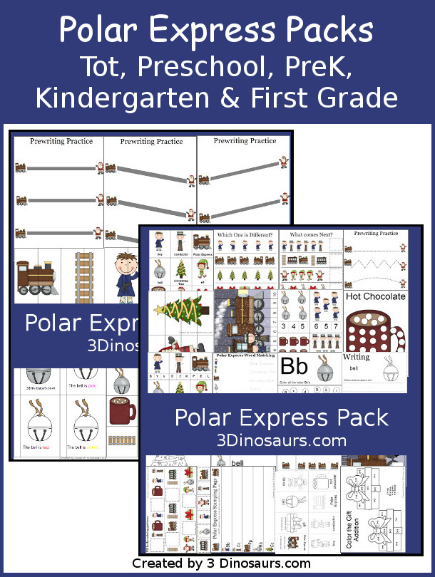 Free Polar Express Pack for Tot, Preschool, Prek, Kindergarten and First Grade - with puzzles, 3 part cards, letters, counting, addition and more - 3Dionsaurs.com