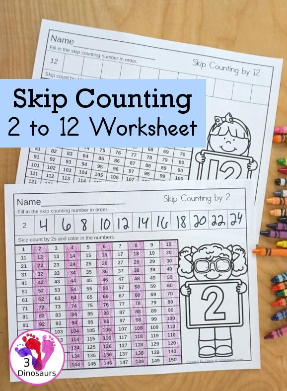 Free Skip Counting 2 To 12 No-Prep Worksheet 3 Dinosaurs