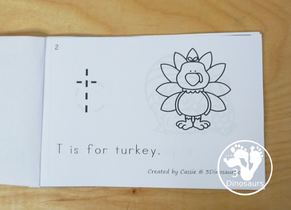 Free Thanksgiving Themed ABC Easy Reader Book - the book works on lowercase letters with Thanksgiving themes in a 12 page book - 3Dinosaurs.com