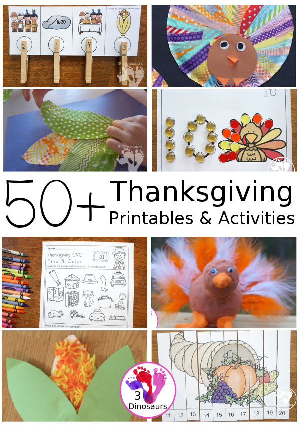 50+ Thanksgiving Activities & Printables 3 Dinosaurs