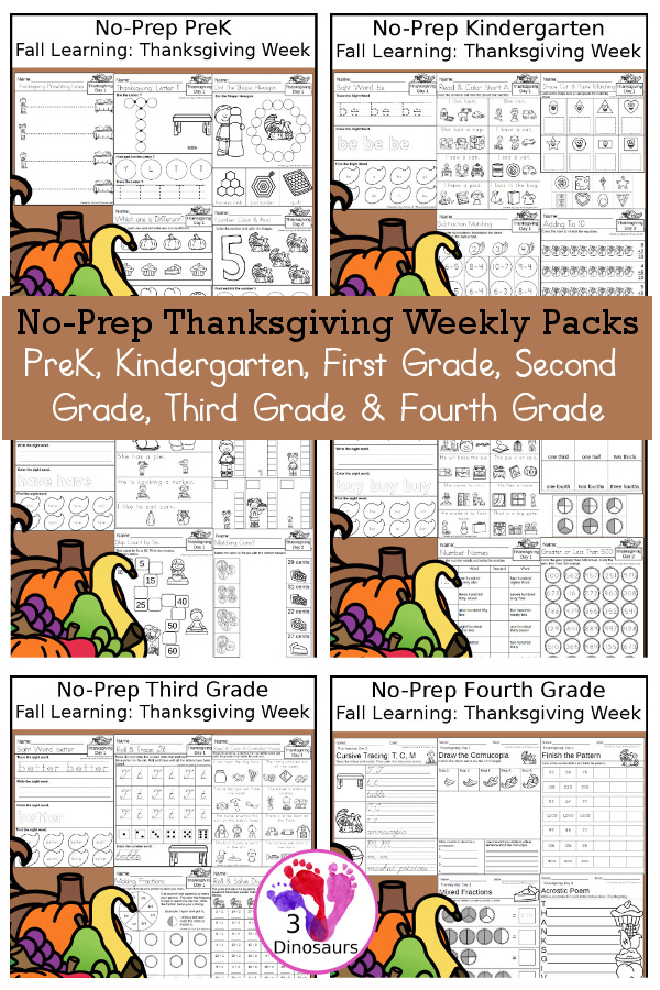 No-Prep Thanksgiving Themed Weekly Packs for PreK, Kindergarten, First Grade, Second Grade, Third Grade & Fourth Grade with 5 days of activities to do for each grade level - These are great for activities to do this fall for Thanksgiving dinner. Loads of thanksgiving foods for kids to learn while learning - 3Dinosaurs.com