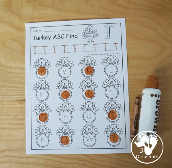 Turkey Themed ABC Find  - all 26 letters of the alphabet for kids to work on tracing and finding the letters - 3Dinosaurs.com