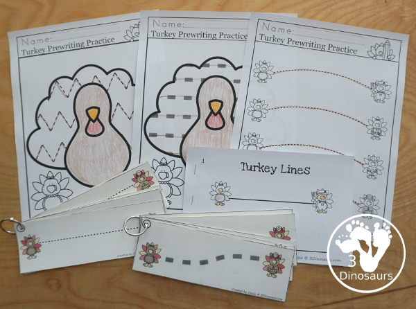 Turkey Activities Pack:  Prewriting with no-prep pages, easy reader books, and tracing strips.- 3Dinosaurs.com