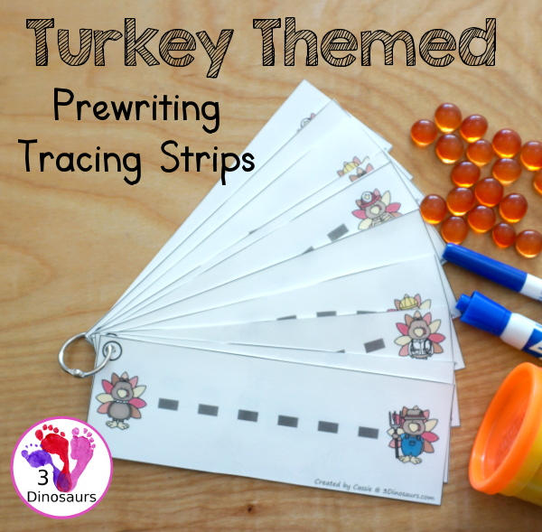 Free Turkey Themed Prewriting Strips - 10 prewriting strips with thick lines for kids to work on prewriting during Thanksgiving - 3Dinosaurs.com