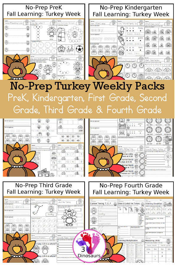 No-Prep Turkey Themed Weekly Packs for PreK, Kindergarten, First Grade, Second Grade, Third Grade & Fourth Grade with 5 days of activities to do for each grade level - These are great for activities to do this fall for Thanksgiving and Disguise a Turkey activities - 3Dinosaurs.com