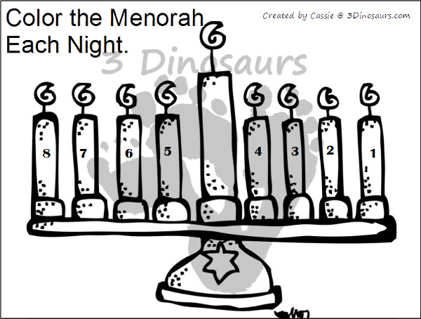 Free Hanukkah Color by Night & Dot Marker - 3Dinosaurs.com