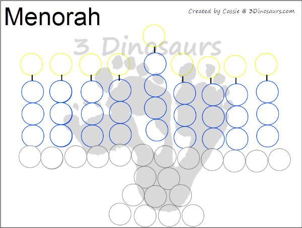 Free Hanukkah Color by Night & Dot Marker - 3Dinosaurs.com