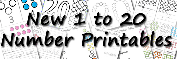 New Free 1 to 20 Number Printables