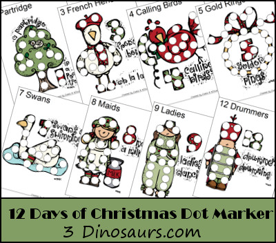 Free 12 Days of Christmas Dot Marker Page - 3Dinosaurs.com