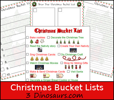 Free Christmas Bucket Lists - 3Dinosaurs.com