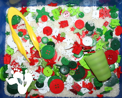 Christmas Button Sensory Bin by 3Dinosaurs.com