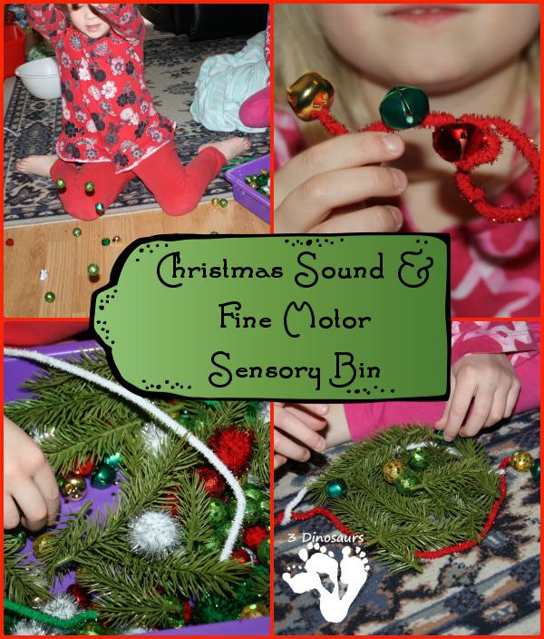 Christmas Sound & Fine Motor Sensory Bin by 3Dinosaurs.com