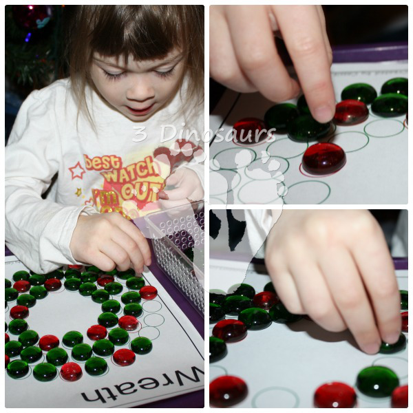 Fine Motor Gem Wreath by 3Dinosaurs.com