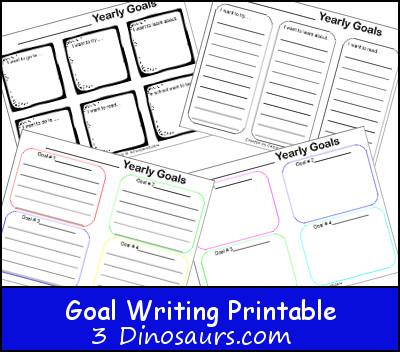 Free Goal Writing Printables - 3Dinosaurs.com