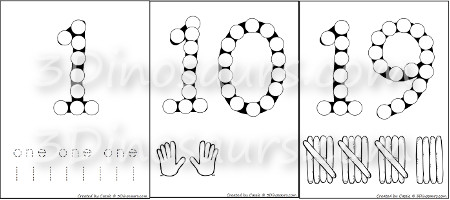 Number Dot Marker Pages 0 To 20 3 Dinosaurs