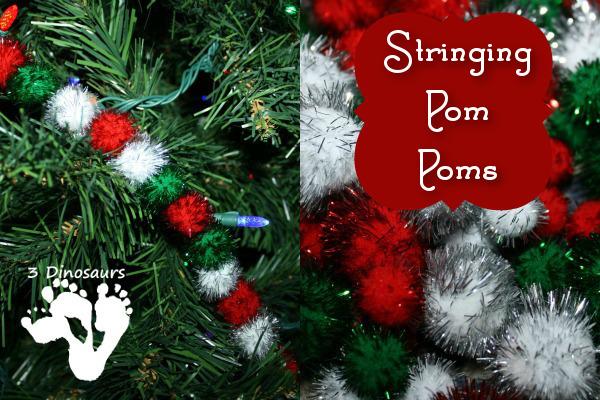 Stringing Pom Poms - 3Dinosaurs.com
