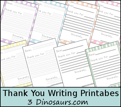 Free Thank You Writing Printables by 3Dinosaurs.com