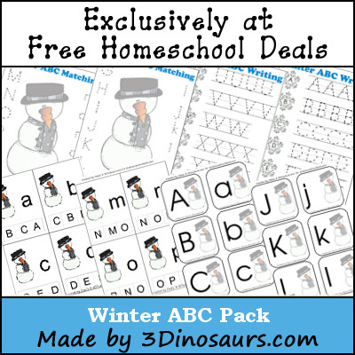 Free Winter ABC Printable Pack by 3Dinosaurs.com
