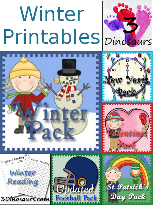 Winter Printables Activities from 3 Dinosaurs