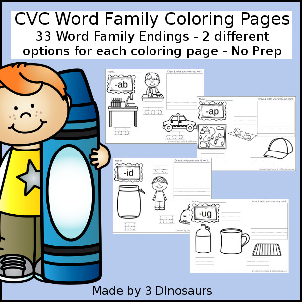 New CVC Word Family Coloring Pages Printable: -ab, -ad, -ag, -am, -an, -ap, -ar, -ap, -at, -ed, -eg, -en, -et, -ib, -id, -ig, -im, -in, -ip, -it, -ix, -ob, -od, -og, -op, -ot, -ox, -ub, -ud, -ug, -um, -un, -up, -ut - 3Dinosaurs.com