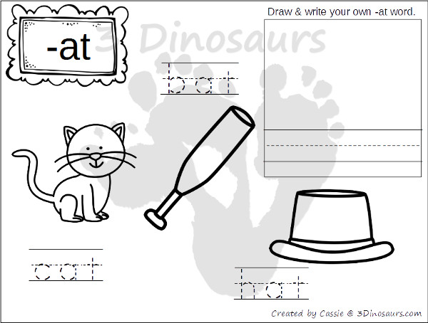 New CVC Word Family Coloring Pages Short A Vowel 3 Dinosaurs