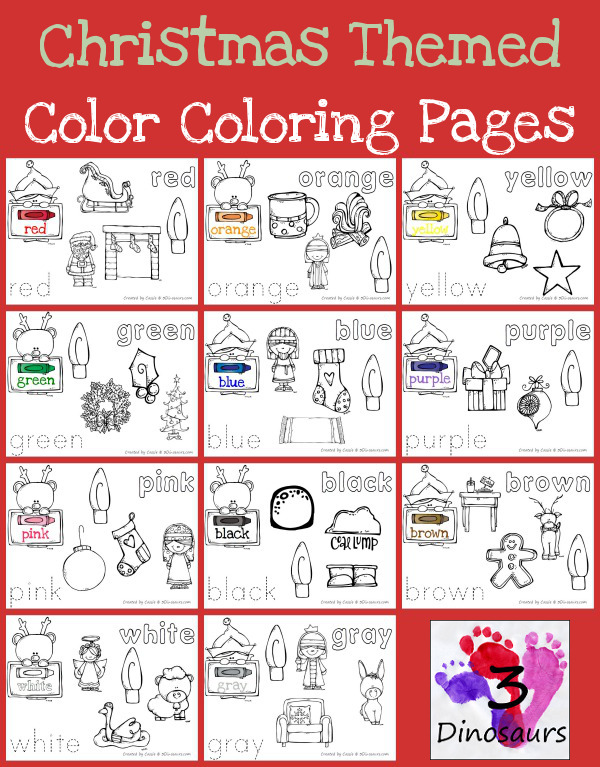 Free Christmas Themed Color Coloring Pages