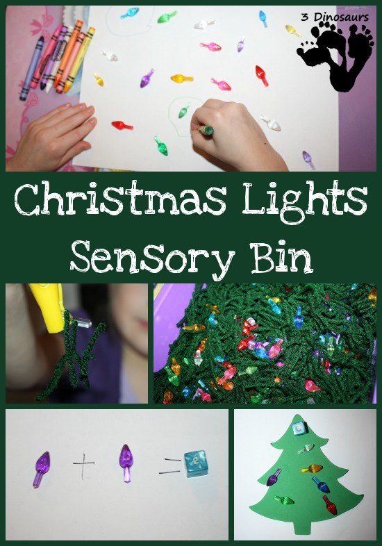 Christmas Light Sensory Bin - 3Dinosaurs.com