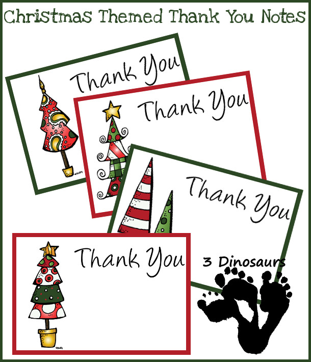 Free Christmas Thank You Notes Printable - 3Dinosaurs.com