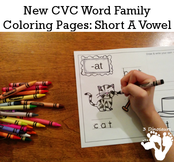 New CVC Word Family Coloring Pages Printable - 3Dinosaurs.com