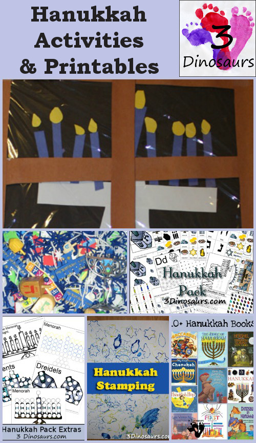 Hanukkah Activities & Printables on 3 Dinosaurs