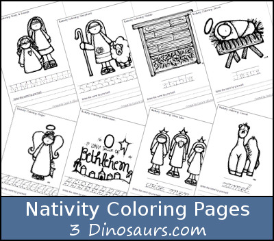 Free Nativity Coloring with Word Print & Cursive - 3Dinosaurs.com