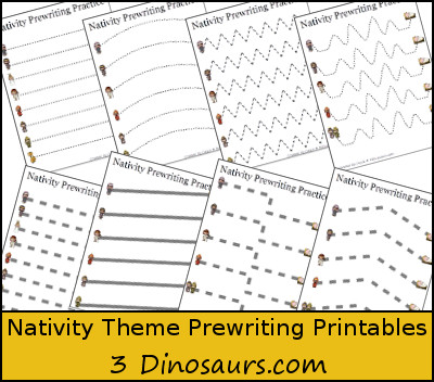 Free Nativity Theme Prewriting Printable - 3Dinosaurs.com