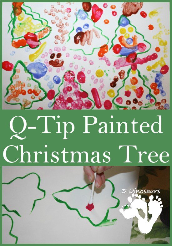 Q-Tip Painted Christmas Trees - 3Dinosaurs.com