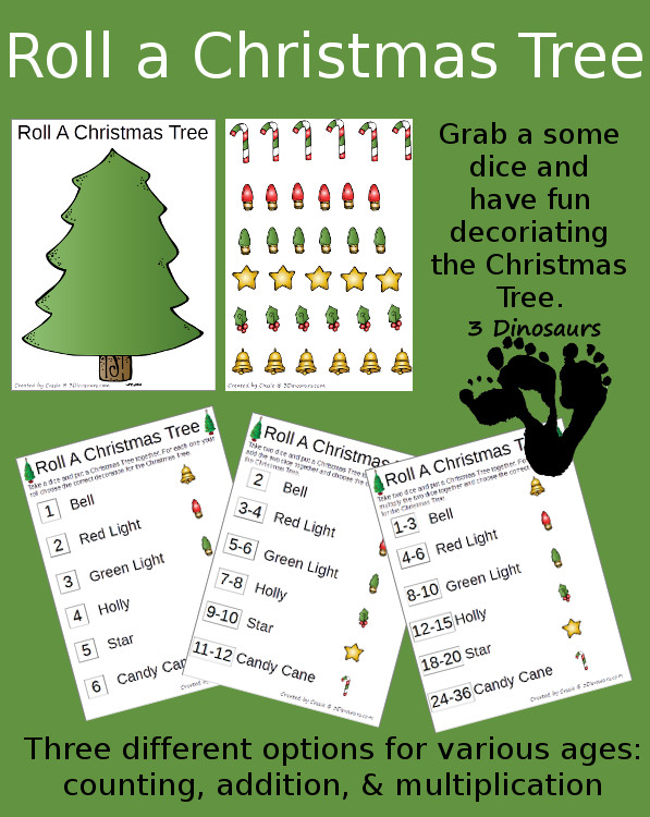 Free Roll a Christmas Tree - 3Dinosaurs.com