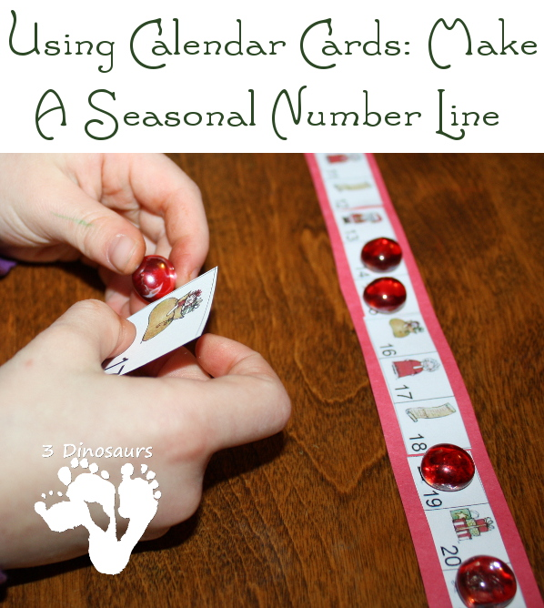 Using Calendar Cards: Making a Seasonal Number Line - 3Dinosaurs.com