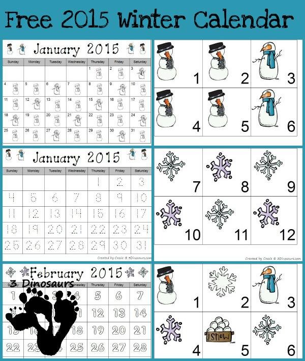 Free 2015 Winter Calendar Printable