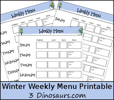 Free Winter Weekly Menu Printable - 3Dinosaurs.com