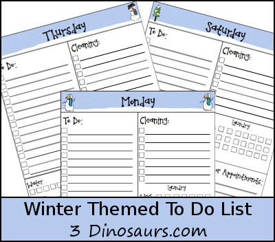 Free Winter To Do List Printable - 3Dinosaurs.com
