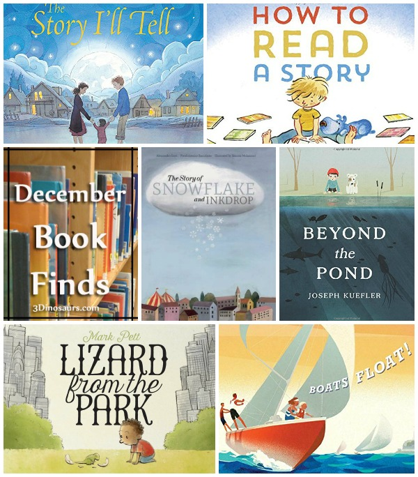 December 2015 Book Finds: boats, adoption, dinosaurs, imagination, reading books, snow. - 3Dinosaurs.com